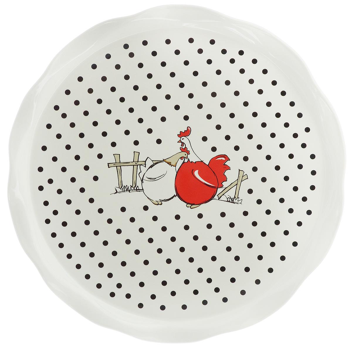 Блюдо круглое Bella, диаметр 30 см115510Круглое блюдо Bella изготовлено из высококачественной керамики и декорировано изображением птиц. Такое оригинальное блюдо идеально подойдет для красивой сервировки стола.Рекомендуется мыть вручную с использованием неабразивных моющих средств.Диаметр блюда: 30 см.Высота блюда: 1,9 см.