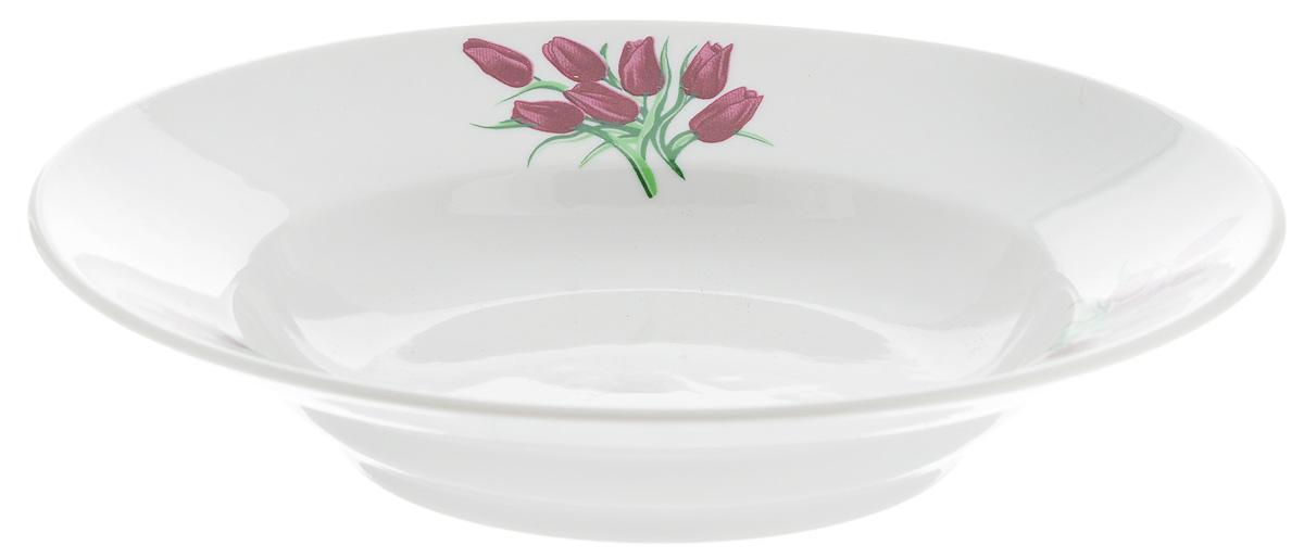 Тарелка глубокая Фарфор Вербилок Тюльпаны, диаметр 19 см115510Тарелка Фарфор Вербилок Тюльпаны, изготовленная из высококачественного фарфора, имеет классическую круглую форму. Она прекрасно впишется в интерьер вашей кухни и станет достойным дополнением к кухонному инвентарю. Идеально подойдет для подачи супов. Тарелка Фарфор Вербилок Тюльпаны подчеркнет прекрасный вкус хозяйки и станет отличным подарком.Диаметр тарелки (по верхнему краю): 19 см.Высота тарелки: 4 см.