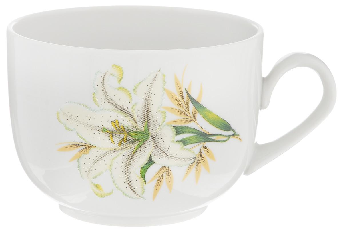 Чашка чайная Фарфор Вербилок Август. Белая лилия, 300 мл391602Чайная чашка Фарфор Вербилок Август. Белая лилия способна скрасить любое чаепитие. Изделие выполнено из высококачественного фарфора. Посуда из такого материала позволяет сохранить истинный вкус напитка, а также помогает ему дольше оставаться теплым.Диаметр по верхнему краю: 8,5 см.Высота чашки: 6,5 см.