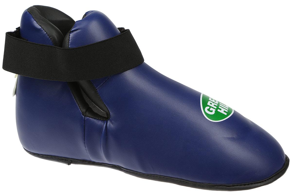 Футы Green Hill Panther, цвет: синий, черный. Размер M. KBSP-3076SC-61311SФуты Green Hill Panther применяются для занятий кикбоксингом. Выполнены из высококачественной искусственной кожи, наполнитель - вспененный полимер. Резинки на липучке в задней части футов обеспечивают лучшую фиксацию ноги.Длина стопы: 30 см. Ширина: 10 см.Размер ноги должен быть меньше на 1-1,5 см.