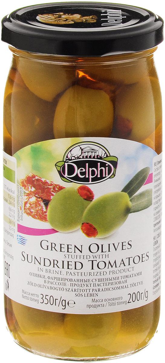 Delphi Оливки фаршированные сушеными томатами в рассоле, 350 г0120710Зеленые оливки, начинены сушеными томатами.Зеленые оливки, собранные вручную на территории Северной и Центральной Греции, начинены сладкими томатами, которые созрели и были высушены под ярким средиземноморским солнцем. Зеленые оливки, фаршированные сушеными томатами предлагают изысканную альтернативу классическим греческим зеленым оливкам. Прекрасно подходят для салатов и отдельно в качестве закуски.