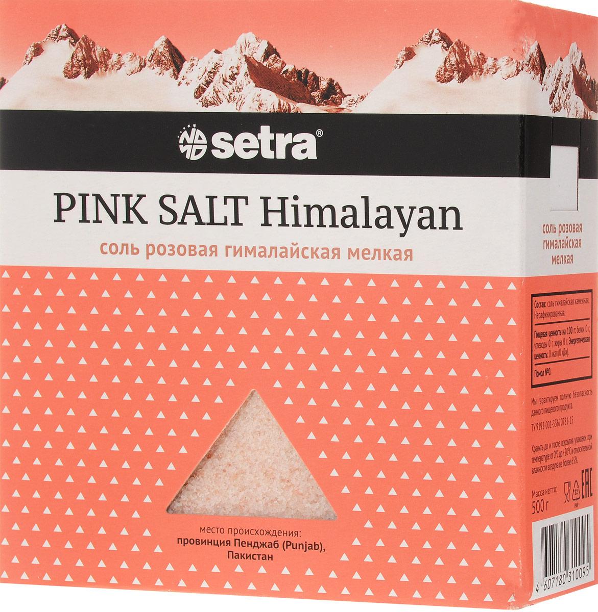 Setra соль розовая гималайская мелкая, 500 г0120710Ценность гималайской соли в содержании большого количества элементов и минералов, главные из которых - железо и медь, придают соли насыщенный розовый цвет. Добывается ручным способом в шахтах в предгорье Гималаев (провинция Пенджаб).Уважаемые клиенты! Обращаем ваше внимание на то, что упаковка может иметь несколько видов дизайна. Поставка осуществляется в зависимости от наличия на складе.
