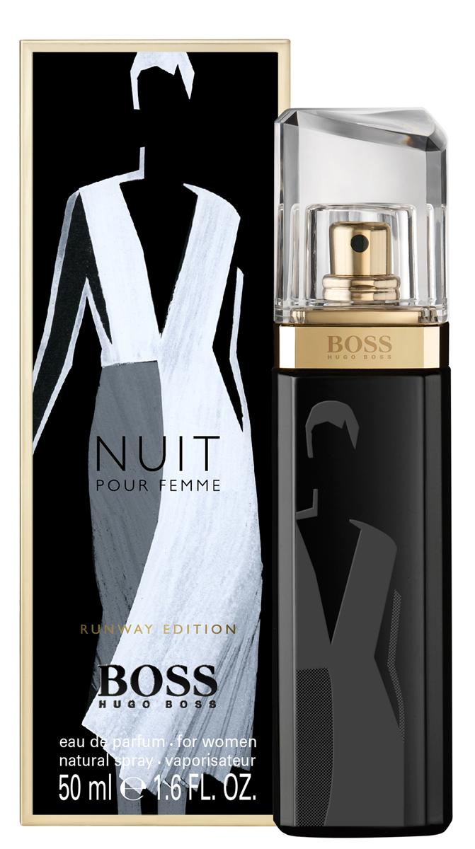 Hugo Boss Runway Nuit парфюмерная вода женская50 мл (лимитированный выпуск)1301210Бренд BOSS известен как в мире моды, так и в индустрии ароматов. Два этих мира соединяются в BOSS Woman Runway Edition - трилогию ароматов, которые переносят мир моды в парфюмерные магазины. Три характера, три образа, три аромата лимитированного выпуска, на каждом из которых появляется эскиз знакового предмета из мира моды - дневного платья, смокинга и вечернего наряда - вдохновлены дебютной коллекцией креативного директора BOSS Womenswear Джейсона Ву. Каждый из ароматов воплощает эти безупречно скроенные образы в парфюмерной композиции. BOSS JOUR Pour Femme - легкий и светлый аромат, воплощение дневного образа, созданного с помощью элегантного шелкового платья цвета слоновой кости. В композиции звучит женственный букет цитрусовых нот и белых цветов апельсина, подчеркивающих свежесть и радость утра.