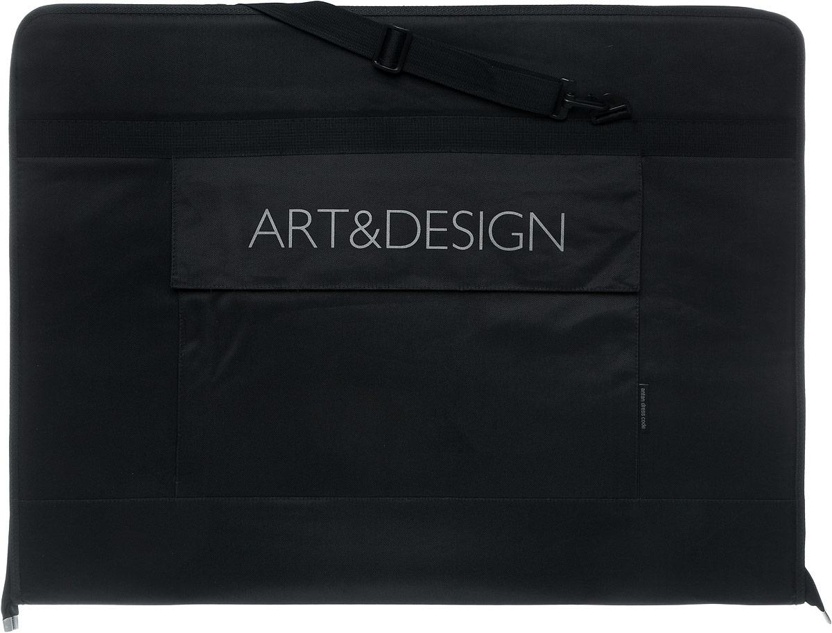 Папка художника Аntan Art&Design, цвет: черный. 6-24/3ABp_22102Папка художника Аntan выполнена из высококачественного полиэстера и оформлена фирменной надписью. Папка оснащена удобными ручками и съемным плечевым ремнем, длина которого регулируется с помощью пряжки. На лицевой стороне расположен один накладной карман, закрывающийся клапаном на застежку-липучку. Внутри расположено главное отделение, которое содержит четыре эластичные резинки на липучках. Изделие закрывается на застежку-молнию.