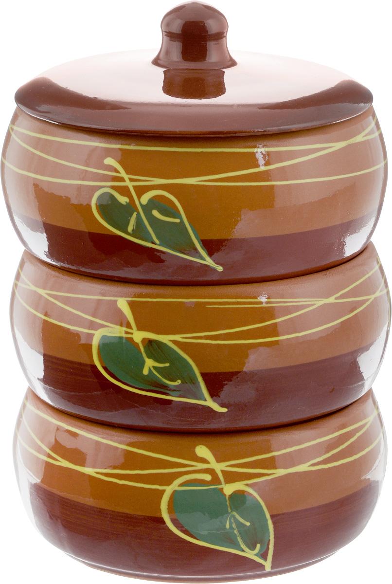Набор блюд для холодца Борисовская керамика Русский, с крышкой, цвет: коричневый, 900 мл, 3 штОБЧ00000911_листок коричневыйБлюда для холодца Борисовская керамика Русский, изготовленные из высококачественной керамики, предназначены для приготовления и хранения заливного или холодца. В комплект входит керамическая крышка. Также блюда можно использовать для приготовления и хранения салатов. Изделия оформлены оригинальным рисунком. Такие блюда украсят сервировку вашего стола и подчеркнут прекрасный вкус хозяйки.Изделия можно использовать в микроволновой печи.Диаметр блюда: 15,5 см.Высота блюда: 8 см.Объем одного блюда: 900 мл.
