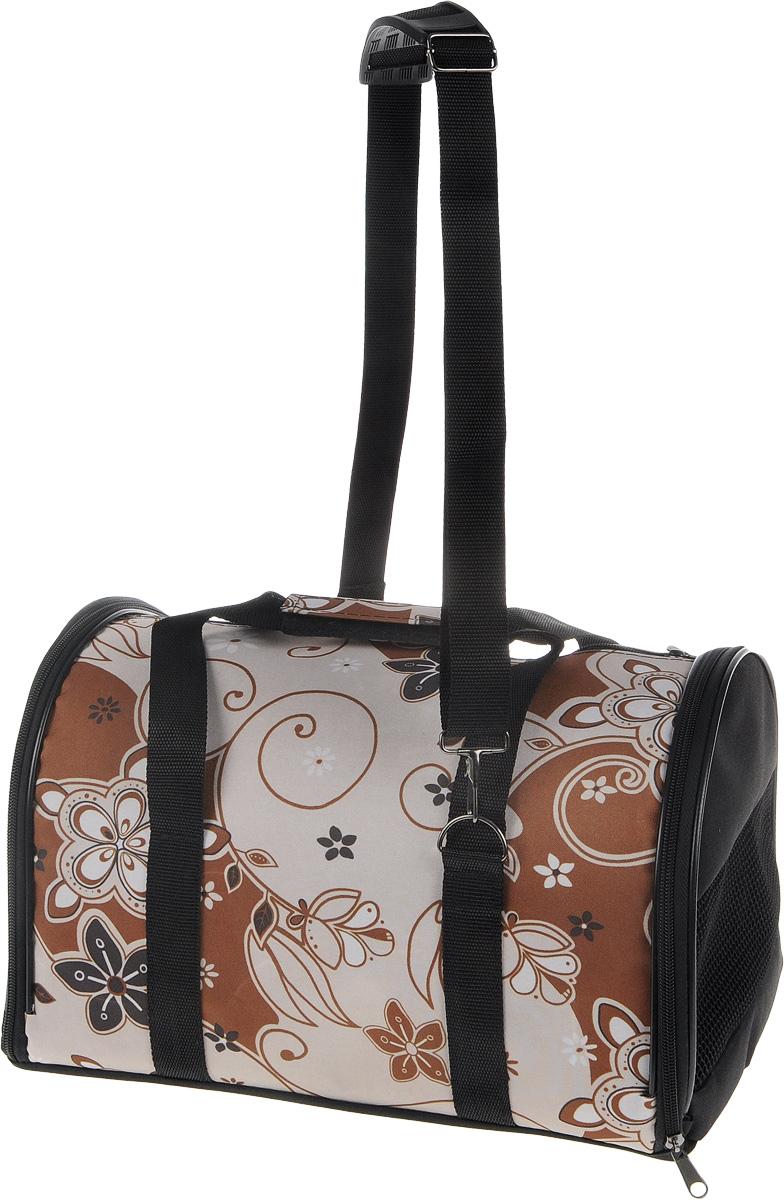 Сумка-переноска для животных ЗооМарк Цветы, цвет: коричневый, бежевый, 38 х 22 х 26 см
