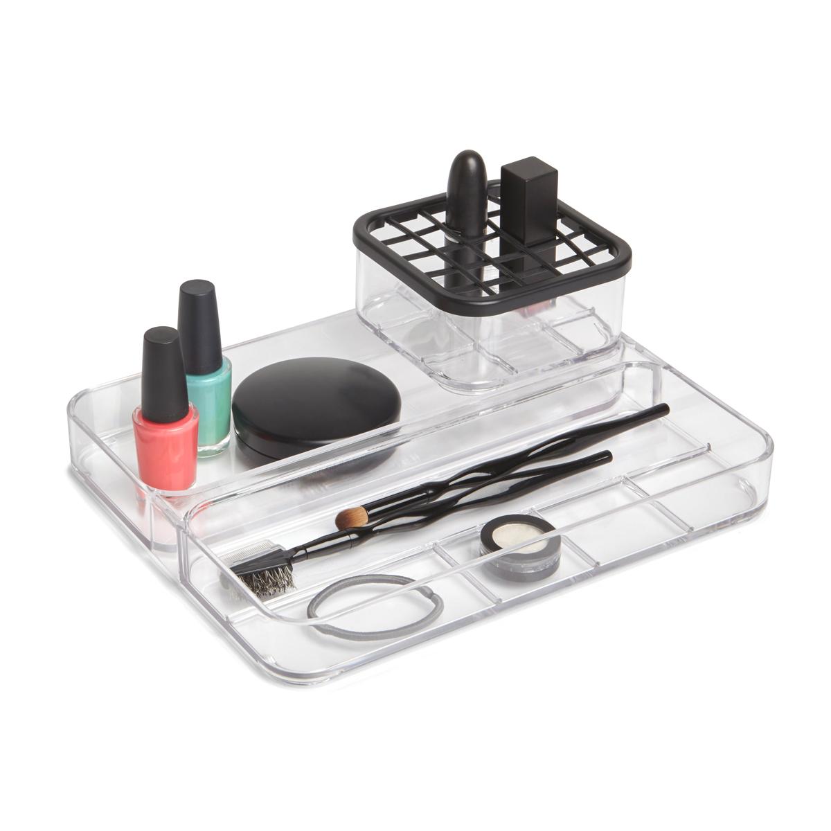 Органайзер Umbra Carrel, 2-уровневый, 5,2 х 10 х 25 смRG-D31SПрактичный органайзер для хранения косметики, украшений или канцелярских принадлежностей.Контейнер, оснащенный крышкой с ячейками, подойдет для хранения карандашей, туши для ресниц или кисточек. На подставке-подносе разместятся украшения, лаки для ногтей, инструменты для маникюра. Прозрачные стенки помогут легко находить необходимый предмет.