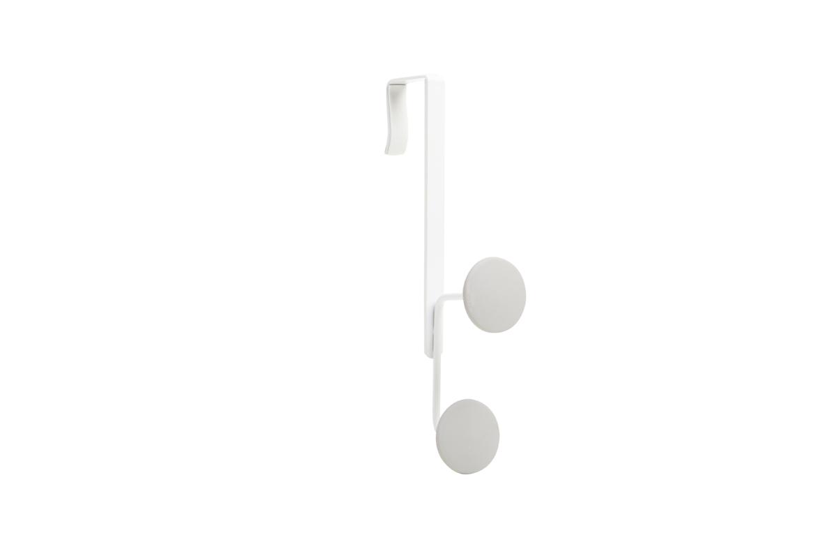 Крючок на дверь Umbra Yook, двойной, цвет: белый6113MДвойной крючок с прорезиненными насадками, похожими на сувенирные значки. Благодаря такой форме крючков, вещи будут надежно закреплены, а ткань на них не растянется. Навешивается на дверь при помощи специальных креплений, которые входят в комплект.Каждый крючок выдерживает нагрузку в 2,25 кг.
