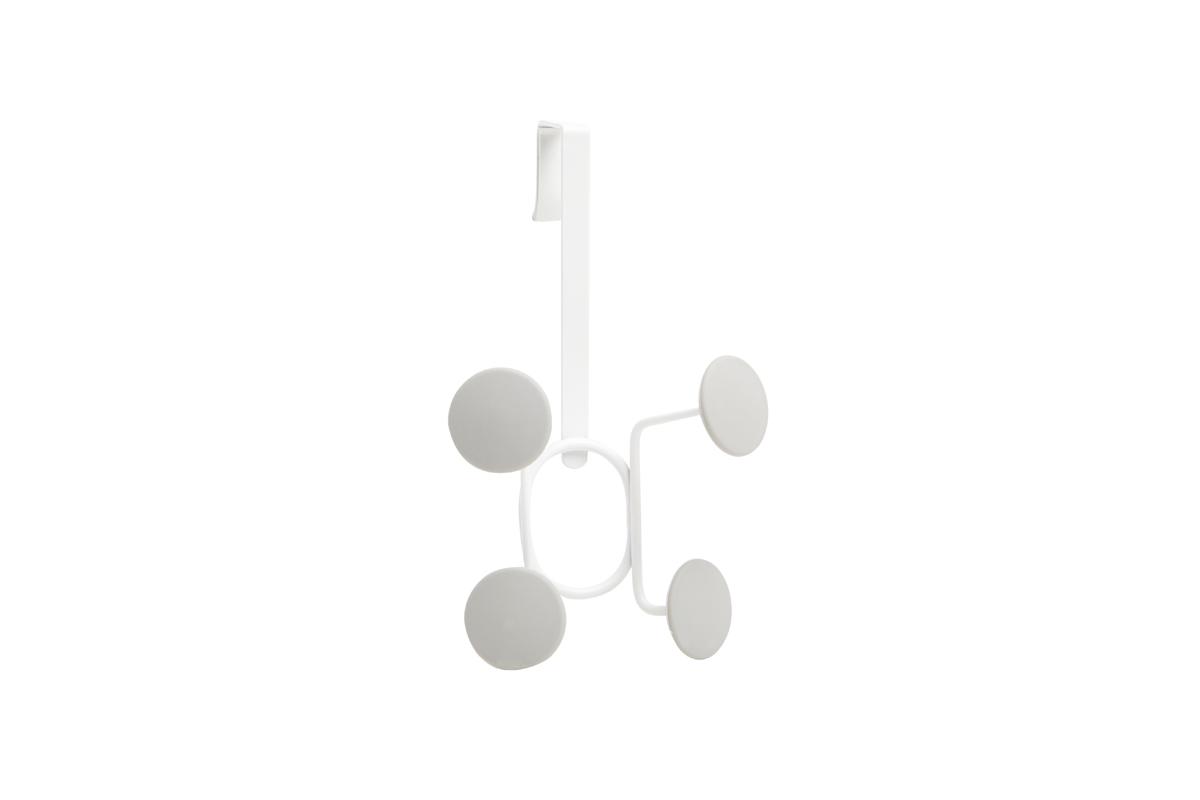 Вешалка на дверь Umbra Yook, цвет: белый, 4 крючкаRG-D31SГеометричная вешалка с 4-мя широкими прорезиненными крючками, похожими на сувенирные значки. Благодаря такой форме крючков вещи будут надежно закреплены, а ткань на них не растянется. Навешивается на дверь при помощи специальных креплений, которые входят в комплект. Каждый крючок выдерживает нагрузку в 2,25 кг.
