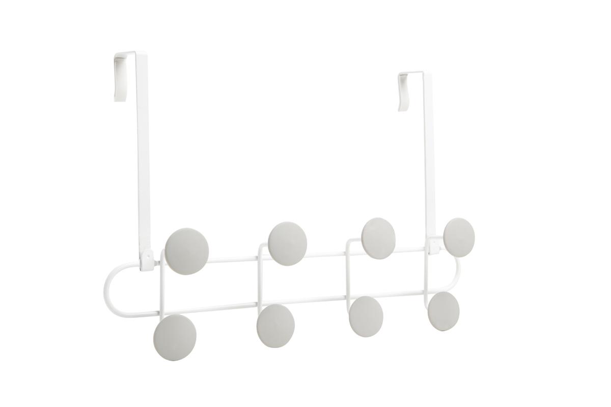 Вешалка на дверь Umbra Yook, цвет: белый, 8 крючковБрелок для ключейГеометричная вешалка с 8-ю широкими прорезиненными крючками, похожими на сувенирные значки. Благодаря такой форме крючков вещи будут надежно закреплены, а ткань на них не растянется. Крепится к стене стандартными шурупами или навешивается на дверь при помощи специальных креплений, которые входят в комплект. Каждый крючок выдерживает нагрузку в 2,25 кг.