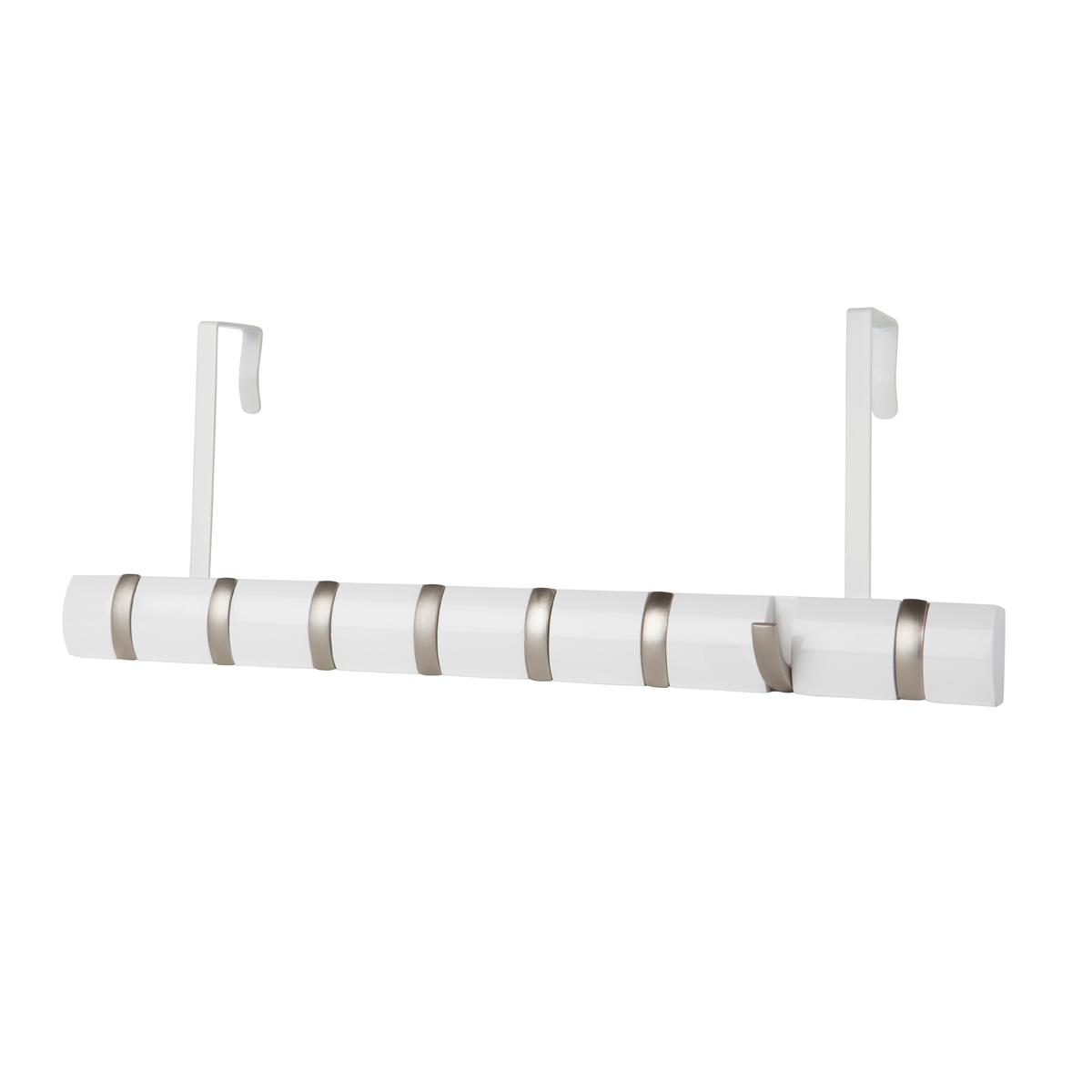 Вешалка Umbra Flip Мини, цвет: белый, 8 крючковRG-D31SСтильная и прочная вешалка Umbra Flip интересной формы и оригинального дизайна изготовлена из дерева. Имеет 8 откидных крючков из никеля: когда они не используются, то складываются, превращая конструкцию в абсолютно гладкую поверхность. Вешалка Umbra Flip идеально подходит для маленьких прихожих и ограниченных пространств. Каждый крючок выдерживает вес до 2,2 кг.