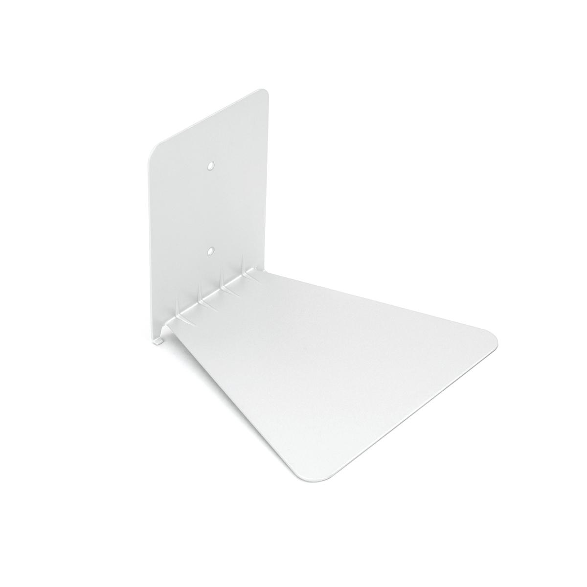 Полка книжная Umbra Conceal, цвет: белый, большая1004250-048Оригинальная книжная полка Umbra Conceal выполнена из стали. Полка легко крепится к стене, все необходимые детали входят в комплект. Размеры: 14 x 17,8 x 16,5 см