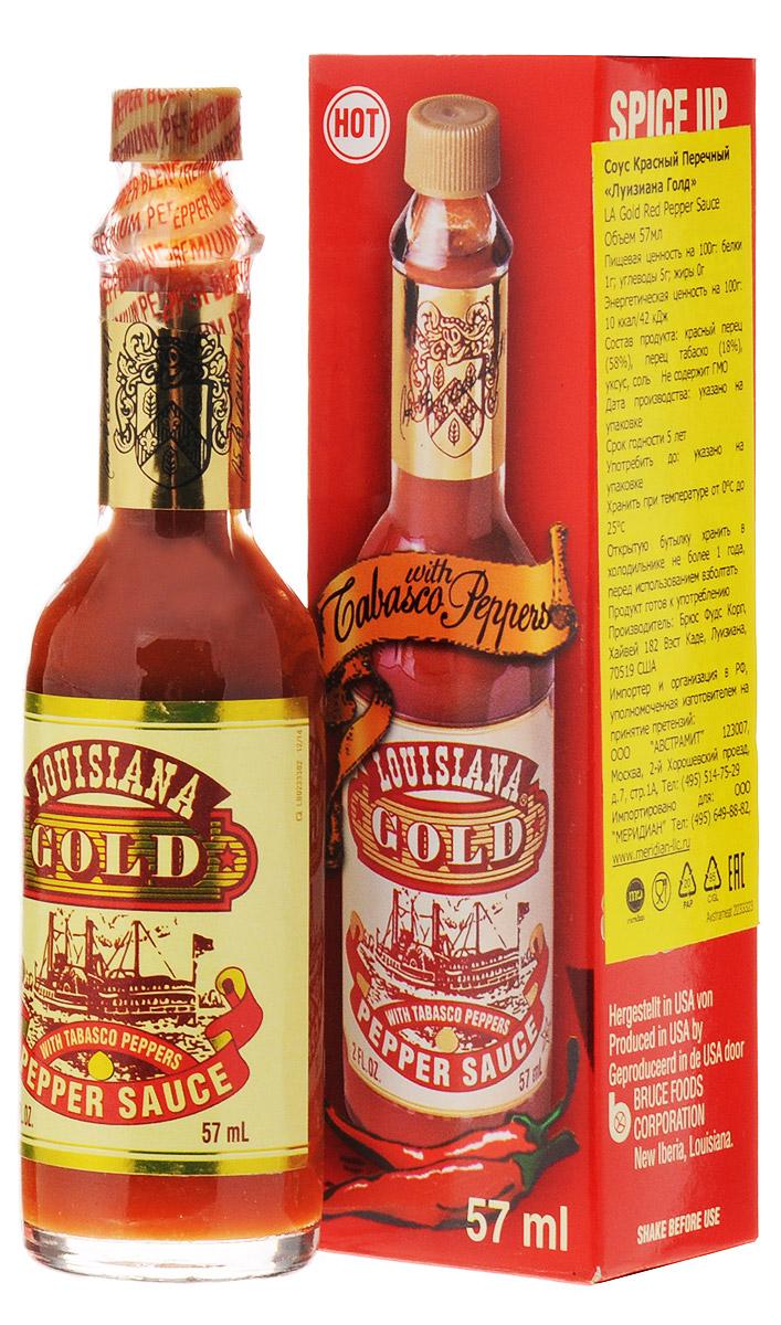 Louisiana Gold соус красный перечный, 57 мл0120710Соус Louisiana Gold - острый красный перечный соус, лучшая приправа к блюдам из мяса, птицы, морепродуктов. Может использоваться как ингредиент для приготовления, маринад.