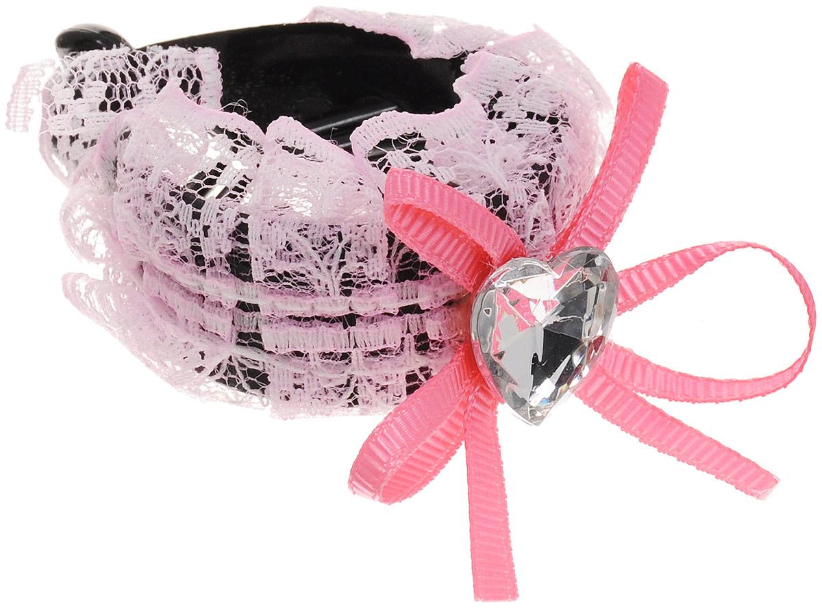Зажим для волос Mitya Veselkov, цвет: светло-розовый. 1058-PINK-DAMСерьги с подвескамиСтильный зажим для волос Mitya Veselkov изготовлен из пластика, декорирован кружевной лентой и стразом в виде сердца.