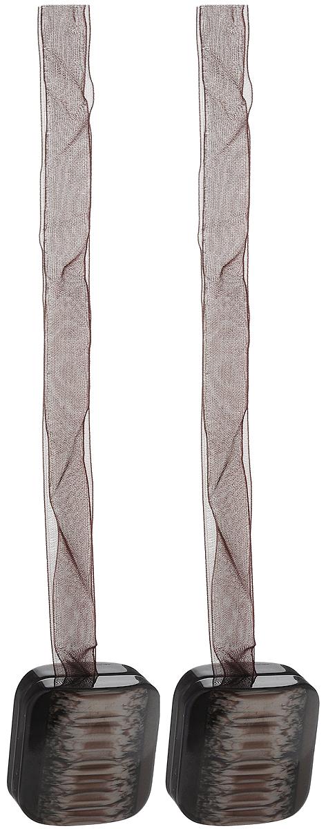 Подхват для штор TexRepublic Ajur. Lenta, на магнитах, цвет: темно-коричневый, 2 шт. 79016RC-100BPCИзящный подхват для штор TexRepublic Ajur. Lenta, выполненный из пластика и текстиля, можно использовать как держатель для штор или для формирования декоративных складок на ткани. С его помощью можно зафиксировать шторы или скрепить их, придать им требуемое положение, сделать симметричные складки. Благодаря магнитам подхват легко надевается и снимается.Подхват для штор является универсальным изделием, которое превосходно подойдет для любых видов штор. Подхваты придадут шторам восхитительный, стильный внешний вид и добавят уют в интерьер помещения.Длина подхвата: 39 см.Количество: 2 шт.
