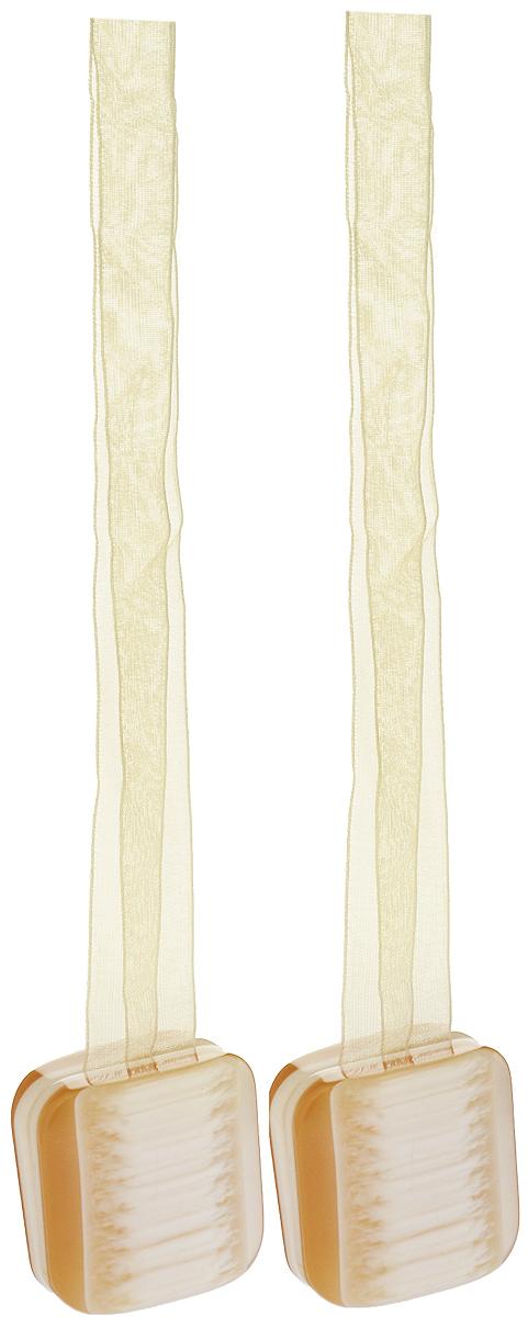 Подхват для штор TexRepublic Ajur. Lenta, на магнитах, цвет: золотистый, 2 шт. 79013MW-3101Изящный подхват для штор TexRepublic Ajur. Lenta, выполненный из пластика и текстиля, можно использовать как держатель для штор или для формирования декоративных складок на ткани. С его помощью можно зафиксировать шторы или скрепить их, придать им требуемое положение, сделать симметричные складки. Благодаря магнитам подхват легко надевается и снимается.Подхват для штор является универсальным изделием, которое превосходно подойдет для любых видов штор. Подхваты придадут шторам восхитительный, стильный внешний вид и добавят уют в интерьер помещения.Длина подхвата: 37 см.Количество: 2 шт.