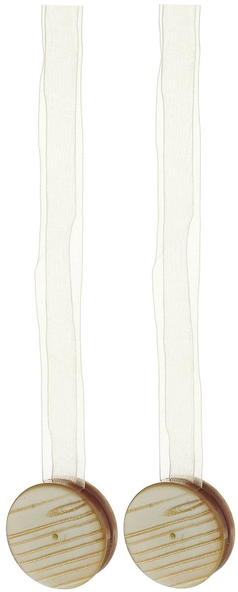Подхват для штор TexRepublic Ajur. Lenta, на магнитах, цвет: бежевый, диаметр 4 см, 2 шт. 7900779007Изящный подхват для штор TexRepublic Ajur. Lenta, выполненный из пластика и текстиля, можно использовать как держатель для штор или для формирования декоративных складок на ткани. С его помощью можно зафиксировать шторы или скрепить их, придать им требуемое положение, сделать симметричные складки. Благодаря магнитам подхват легко надевается и снимается.Подхват для штор является универсальным изделием, которое превосходно подойдет для любых видов штор. Подхваты придадут шторам восхитительный, стильный внешний вид и добавят уют в интерьер помещения.Длина подхвата: 36 см.Диаметр: 4 см.Количество: 2 шт.