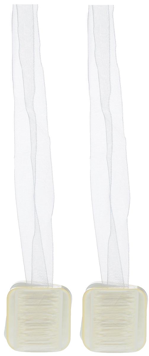 Подхват для штор TexRepublic Ajur. Lenta, на магнитах, цвет: слоновая кость, 2 шт. 79014RC-100BPCИзящный подхват для штор TexRepublic Ajur. Lenta, выполненный из пластика и текстиля, можно использовать как держатель для штор или для формирования декоративных складок на ткани. С его помощью можно зафиксировать шторы или скрепить их, придать им требуемое положение, сделать симметричные складки. Благодаря магнитам подхват легко надевается и снимается.Подхват для штор является универсальным изделием, которое превосходно подойдет для любых видов штор. Подхваты придадут шторам восхитительный, стильный внешний вид и добавят уют в интерьер помещения.Длина подхвата: 37 см.Количество: 2 шт.