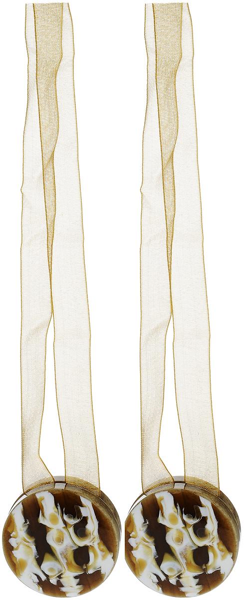 Подхват для штор TexRepublic Ajur. Lenta, на магнитах, цвет: коричневый, диаметр 4 см, 2 шт. 790181004900000360Изящный подхват для штор TexRepublic Ajur. Lenta, выполненный из пластика и текстиля, можно использовать как держатель для штор или для формирования декоративных складок на ткани. С его помощью можно зафиксировать шторы или скрепить их, придать им требуемое положение, сделать симметричные складки. Благодаря магнитам подхват легко надевается и снимается.Подхват для штор является универсальным изделием, которое превосходно подойдет для любых видов штор. Подхваты придадут шторам восхитительный, стильный внешний вид и добавят уют в интерьер помещения.Длина подхвата: 36 см.Диаметр: 4 см.Количество: 2 шт.
