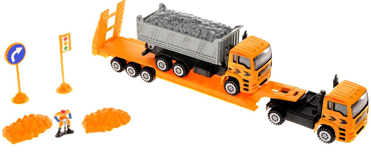 Junfa Toys Автовоз инерционный с самосвалом F11_камаз 2 калодки на полуприцеп нефаз