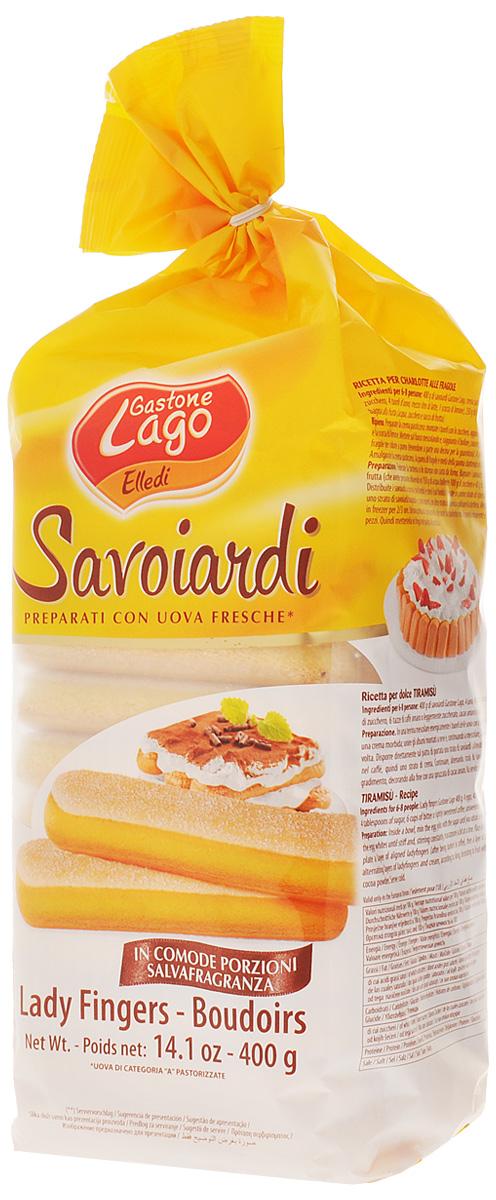 Elledi печенье Савоярди, 400 г120428Савоярди, или дамские пальчики  традиционное сухое бисквитное печенье вытянутой формы. Хотя савоярди чаще всего используется для приготовления итальянского десерта тирамису, им можно найти и другое применение, например, при приготовления всевозможных шарлотов.