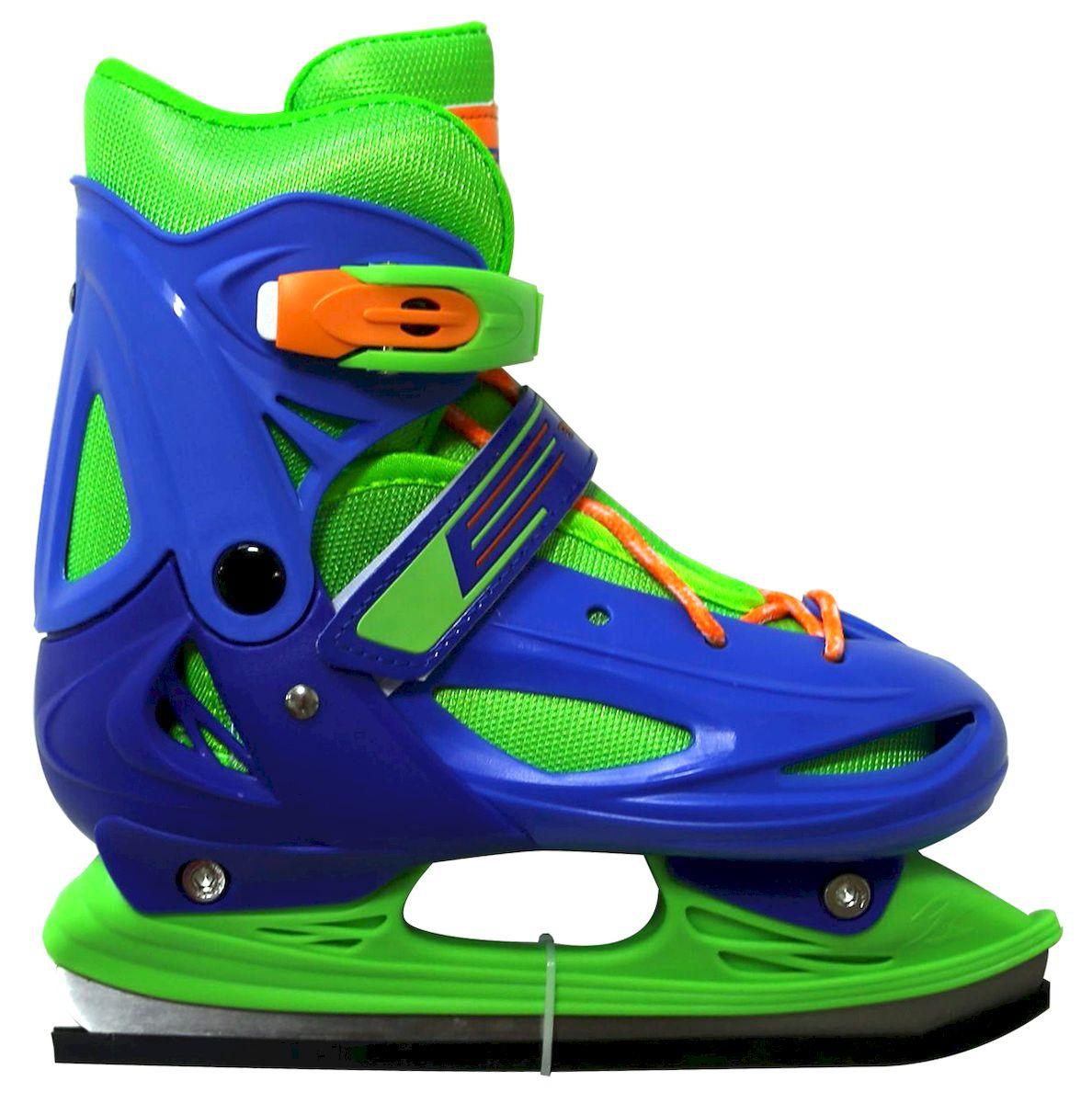 Коньки ледовые Ice Blade Casey, раздвижные, цвет: синий, зеленый, оранжевый. УТ-00009125. Размер S (30/33)SF 010Коньки раздвижные Casey - это классические раздвижные коньки от известного бренда Ice Blade, которые предназначены для детей и подростков, а также для тех, кто делает первые шаги в катании на льду.Ботинок изготовлен из морозоустойчивого пластика. Внутренняя поверхность из мягкого и теплого текстиля обеспечивает комфорт во время движения. Лезвие выполнено из высокоуглеродистой стали с покрытием из никеля. Пластиковая клипса с фиксатором, хлястик на липучке и шнуровка надежно фиксируют голеностоп. Конструкция коньков позволяет быстро и точно изменять их размер. Яркий молодежный дизайн, теплый внутренний сапожок, удобная трехуровневая система фиксации ноги, легкая смена размера, надежная защита пятки и носка - все это бесспорные преимущества модели. Коньки поставляются с заводской заточкой лезвия, что позволяет сразу приступить к катанию и не тратить денег на заточку. Предназначены для использования на открытом и закрытом льду.