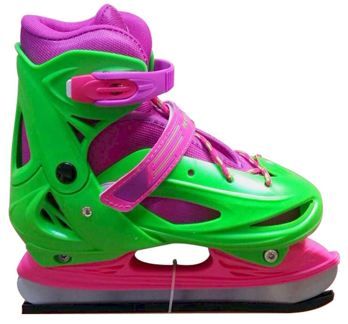 Коньки ледовые Ice Blade Sophie, раздвижные, цвет: розовый, зеленый. УТ-00009126. Размер S (30/33)ASE-611FКоньки раздвижные Sophie - это классические раздвижные коньки от известного бренда Ice Blade, которые предназначены для детей и подростков, а также для тех, кто делает первые шаги в катании на льду.Ботинок изготовлен из морозоустойчивого пластика. Внутренняя поверхность из мягкого и теплого текстиля обеспечивает комфорт во время движения. Лезвие выполнено из высокоуглеродистой стали с покрытием из никеля. Пластиковая клипса с фиксатором, хлястик на липучке и шнуровка надежно фиксируют голеностоп. Конструкция коньков позволяет быстро и точно изменять их размер. Яркий молодежный дизайн, теплый внутренний сапожок, удобная трехуровневая система фиксации ноги, легкая смена размера, надежная защита пятки и носка - все это бесспорные преимущества модели. Коньки поставляются с заводской заточкой лезвия, что позволяет сразу приступить к катанию и не тратить денег на заточку. Предназначены для использования на открытом и закрытом льду.