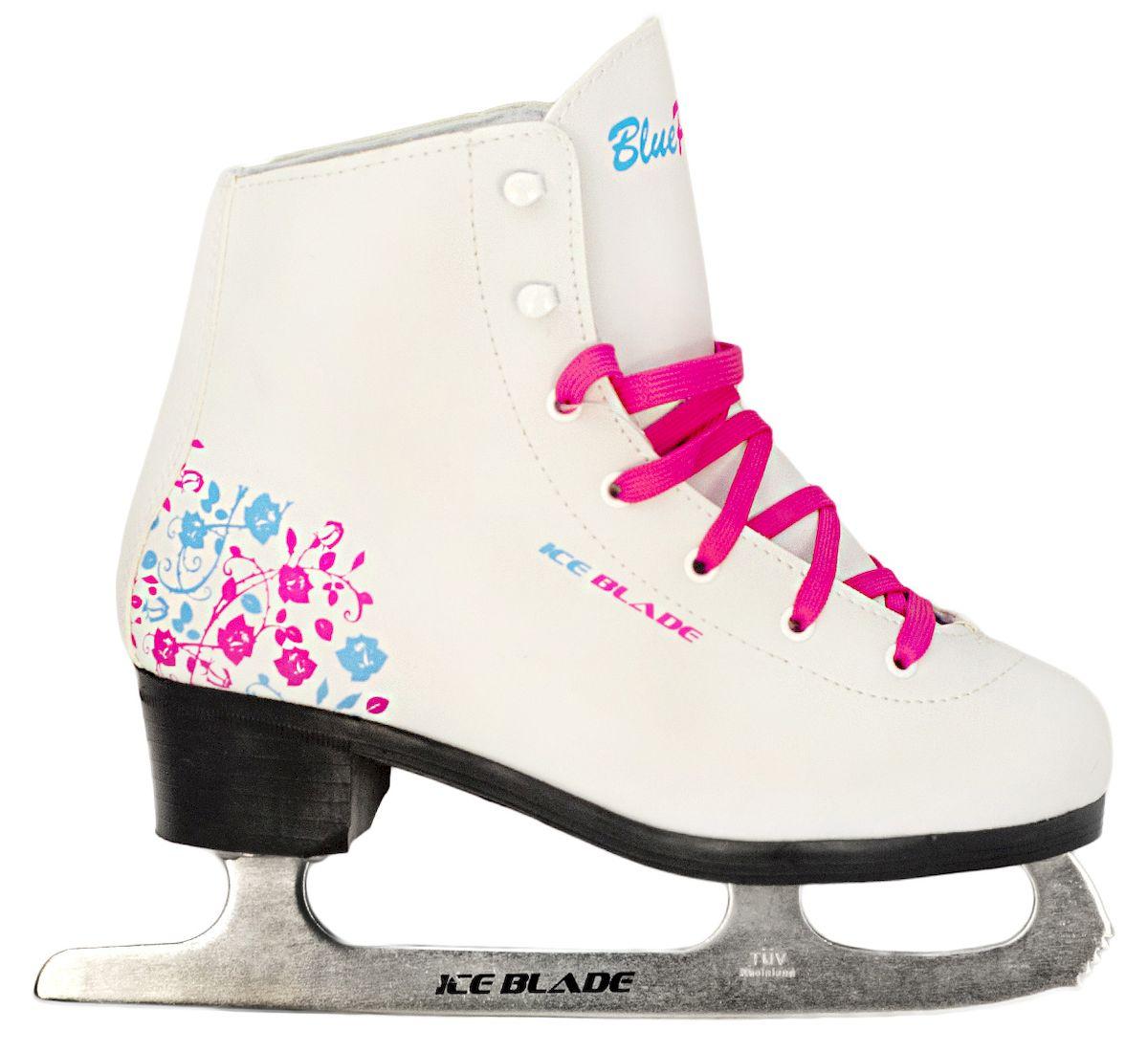Коньки фигурные Ice Blade BluePink, цвет: белый, розовый, голубой. УТ-00006869. Размер 34PW-221Коньки фигурные Ice Blade BluePink предназначены для любительского фигурного катания. Яркий и нестандартный дизайн модели BluePink совмещает голубой и розовый цвет. Более того, в комплекте помимо розовых шнурков идет пара голубых, пусть каждая любительница катания на коньках выберет для себя, какой цвет ей больше по душе.Ботинок анатомической конструкции выполнен из высококачественной искусственной кожи, покрытой полиуретаном, защищающим от влаги. Внутренняя набивка из специального материала, комфортно адаптирующегося к форме ноги. Внутренняя отделка из мягкого вельвета.Лезвия изготовлены из высокоуглеродистой стали, сертифицированной TUV Rheiland. Коньки поставляются с заводской заточкой лезвия, что позволяет сразу приступить к катанию, не тратя время и денег на заточку. Коньки подходят для использования на открытом и закрытом льду.