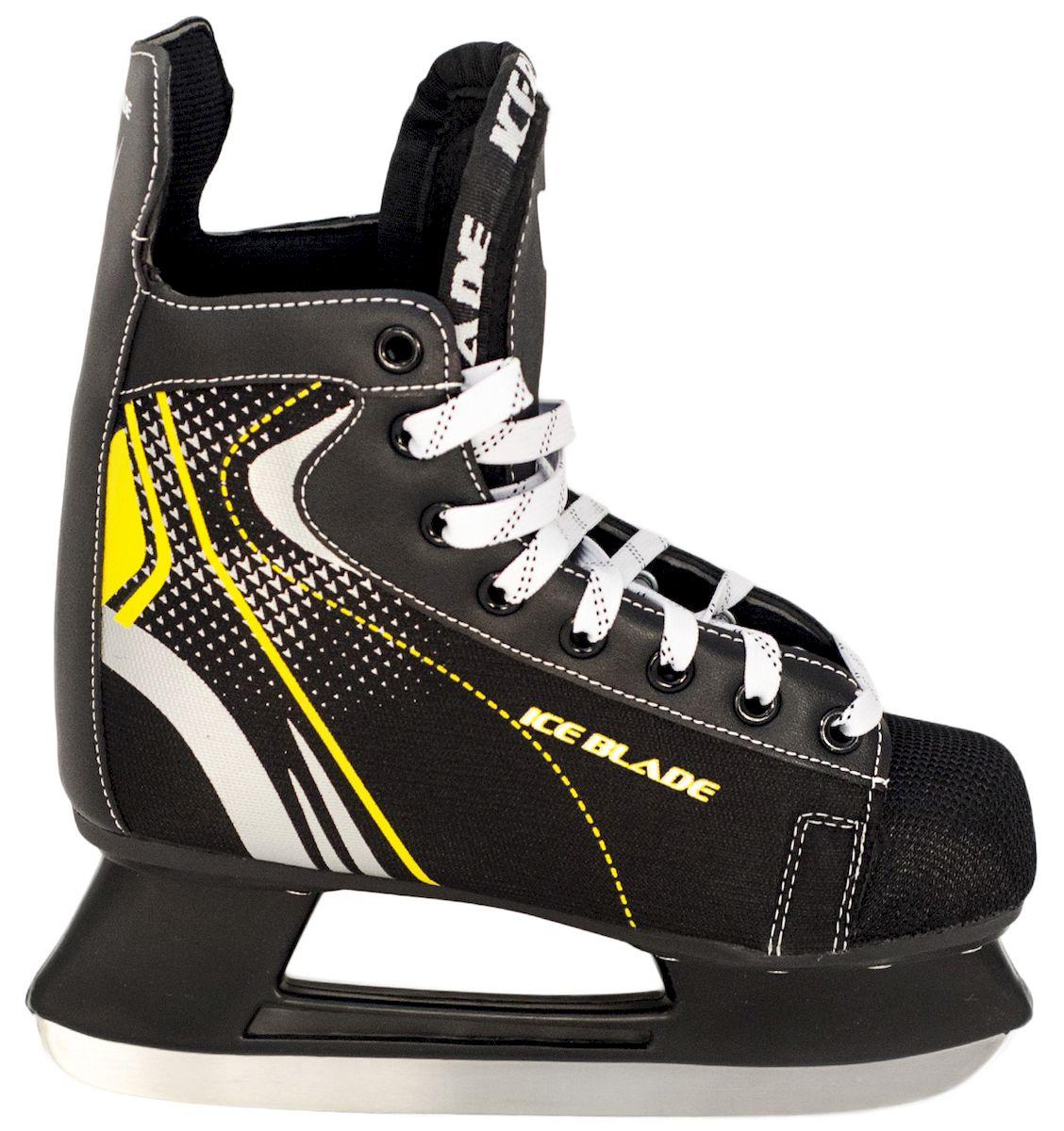Коньки хоккейные Ice Blade Shark, цвет: черный, желтый. УТ-00006841. Размер 46УТ-00006841Коньки хоккейные Shark имеют модный яркий дизайн, поэтому данная модель очень популярна у любителей хоккея.Ботинок выполнен из искусственной кожи, высокопрочной нейлоновой ткани и ударостойкого пластика. Лезвие изготовлено из высокоуглеродистой стали с покрытием из никеля, что гарантирует прочность и долговечность. В качестве внутренней отделки используется вельветин с утеплителем. Коньки поставляются с заводской заточкой лезвия, что позволяет сразу приступить к катанию, не тратя время и денег на заточку. Коньки подходят для использования на открытом и закрытом льду.Удобная система фиксации ноги и улучшенная колодка сделают катание комфортным и безопасным.