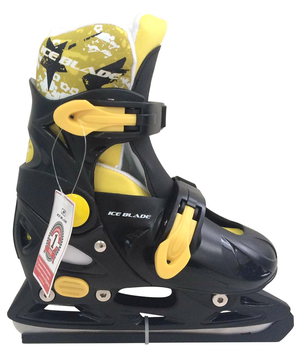 Коньки ледовые Ice Blade Felix, раздвижные, цвет: черный, желтый. УТ-00009114. Размер S (33/36)ASE-611FКоньки раздвижные Felix - это классические раздвижные коньки от известного бренда Ice Blade, которые предназначены для детей и подростков, а также для тех, кто делает первые шаги в катании на льду.Ботинок изготовлен из морозоустойчивого пластика. Внутренняя поверхность из мягкого и теплого текстиля обеспечивает комфорт во время движения. Лезвие выполнено из высокоуглеродистой стали с покрытием из никеля. Пластиковые клипсы с фиксатором надежно фиксируют голеностоп. Конструкция коньков позволяет быстро и точно изменять их размер. Яркий молодежный дизайн, теплый внутренний сапожок, удобная система фиксации ноги, легкая смена размера, надежная защита пятки и носка - все это бесспорные преимущества модели. Коньки поставляются с заводской заточкой лезвия, что позволяет сразу приступить к катанию и не тратить денег на заточку. Предназначены для использования на открытом и закрытом льду.