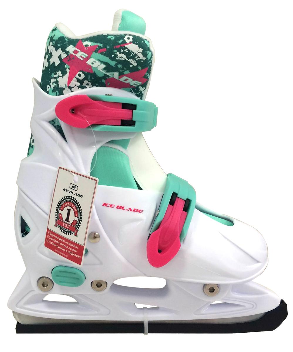 Коньки ледовые Ice Blade Bonnie, раздвижные, цвет: белый, розовый, мятный. УТ-00009113. Размер L (40/43)SF 010Коньки раздвижные Bonnie - это классические раздвижные коньки от известного бренда Ice Blade, которые предназначены для детей и подростков, а также для тех, кто делает первые шаги в катании на льду.Ботинок изготовлен из морозоустойчивого пластика. Внутренняя поверхность из мягкого и теплого текстиля обеспечивает комфорт во время движения. Лезвие выполнено из высокоуглеродистой стали с покрытием из никеля. Пластиковые клипсы с фиксатором надежно фиксируют голеностоп. Конструкция коньков позволяет быстро и точно изменять их размер. Яркий молодежный дизайн, теплый внутренний сапожок, удобная система фиксации ноги, легкая смена размера, надежная защита пятки и носка - все это бесспорные преимущества модели. Коньки поставляются с заводской заточкой лезвия, что позволяет сразу приступить к катанию и не тратить денег на заточку. Предназначены для использования на открытом и закрытом льду.