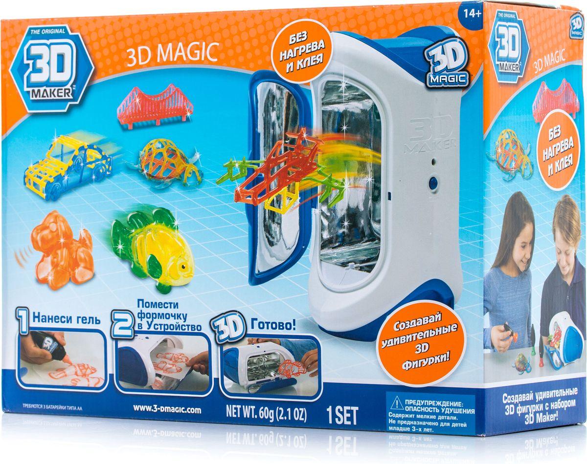 В комплекте устройство для создания 3D моделей, 3 тюбика со специальным гелем, 3 формочки: рыба-клоун, морская черепаха, собака, а также 3 трафарета: мост, истребитель, машина, 2 дополнительных трафарета для свободной игры. Русифицирована коробка.