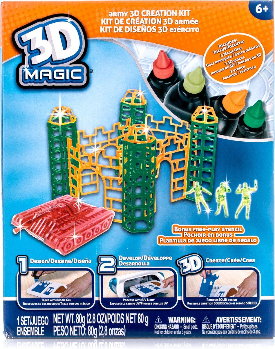 4 x Тюбика со специальным 3D гелем, 1 x 3D формочка орудийных башен / трафарет стен 3 x 3D формочки воинов, 1 x 3D формочка танка, 1 x Дополнительный пустой трафарет для свободной игры.