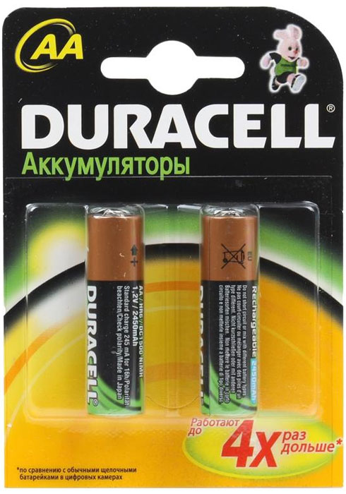 Набор аккумуляторов Duracell, AA NiMH 2450 mAh, 2 штE300115900Никель-металлгидридные аккумуляторы Duracell - идеальное решение для цифровых приборов с высоким потреблением энергии. Их основное преимущество перед другими типами аккумуляторов заключается в более продолжительном времени работы в течение одного цикла зарядки. Используя такой аккумулятор, можно не беспокоиться, что фотоаппарат разрядится или МРЗ-плеер выключится в самый неподходящий момент.Никель-металлгидридные аккумуляторы практически избавлены от эффекта памяти. Аккумулятор можно заряжать не полностью разряженный, если он не хранился больше нескольких дней в таком состоянии. Если аккумулятор был частично разряжен, а затем не использовался более 30 дней, то перед зарядкой его необходимо полностью разрядить.