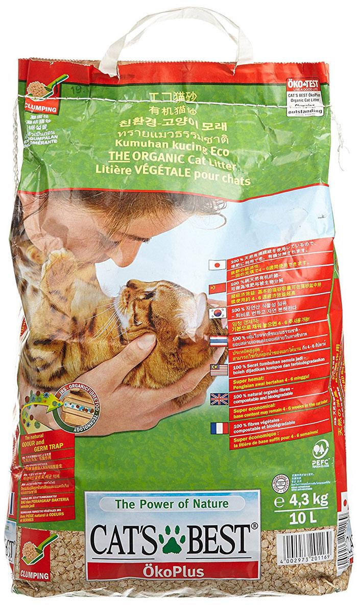 Cats Best Eko plus Наполнитель древесный комкующийся 10л*4,3кг0120710Древесный комкующийся наполнитель, который можно выбрасывать в унитаз. Обладает исключительным запахопоглащением и впитываемостью в 700%