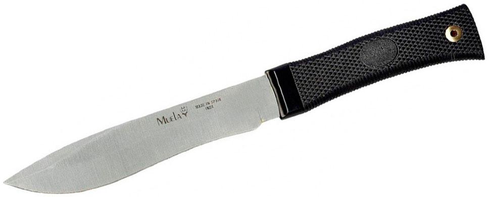 Нож Muela Лось, цвет: черный, длина клинка 16 см. U/55MK3WR 5008_красныйУниверсальный охотничий нож с фиксированным клинком «Лось» от компании Muela - отличный подарок профессиональным охотникам. Этим ножом можно с легкостью разделать крупного или среднего зверя – лося, оленя или кабана, снять шкуру и выполнить любую другую задачу. Для своих целей нож используют туристы и путешественники, рыбаки и дачники. Он имеет многоцелевое назначение.Красивая эргономичная рукоятка ножа с фиксированным клинком «Лось» выполнена из пластика, отлично располагается в руке и не скользит даже в мокрой руке. Специальный ограничитель защищает вашу руку, не дает соскальзывать на лезвие ножа.Испанский производитель компании Muela выпускает охотничий нож с фиксированным клинком «Лось» с прямым обухом и сверх острым клинком. Для клинка данной модели ножа использована нержавеющая сталь высокого качества. Для максимальной твердости металла применяется технология термической закалки. Заводская заточка охотничьего ножа «Лось» держится очень долго и при этом в процессе работы не теряет свои качества. Клинок является основной частью ножа. Именно от клинка зависят режущие и колющие свойства ножа. Форма клинка охотничьего ножа «Лось» и острое лезвие гарантируют высокую эффективность использования колющих и режущих движений.В комплекте с охотничьим ножом «Лось» поставляются кожаные ножны. Они обеспечивают защиту и безопасность при хранении, ношении в рюкзаке или сумке. К сожалению, нож нельзя зафиксировать на руке или носить на шее, так как у него нет специального отверстия на рукоятке для темляка.Общая длина ножа: 27,5 см.Длина клинка: 16 см.Толщина лезвия: 3,6 мм.