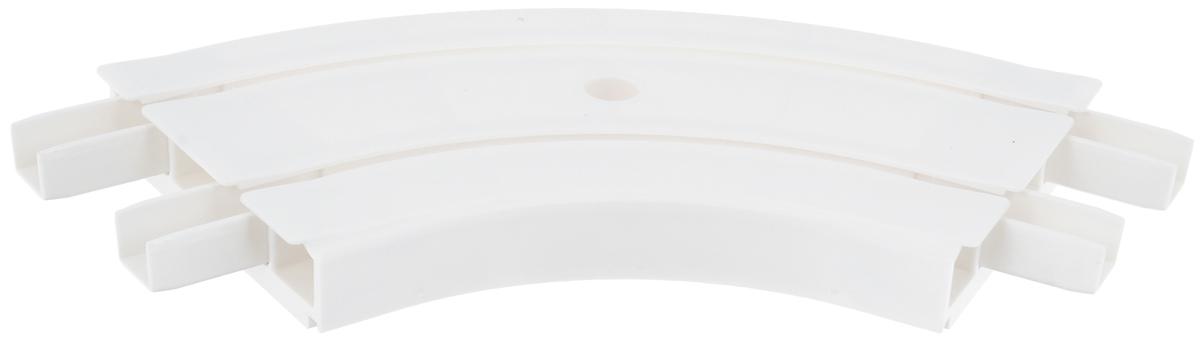 Закругление для потолочной шины Эскар, внутреннее, двухрядное, 120°21202Внутреннее закругление Эскар является дополнительным элементом карниза, которое служит для создания поворота потолочного профиля на 120°. Изделие обеспечивает удобство в использовании всей конструкции карниза. Оно изготавливается из высокопрочного и экологически безопасного пластика. Качественное сырье гарантирует прочность профиля и неизменный цвет на протяжении многих лет. Закругление имеет два ряда и предназначено для потолочного шинного карниза. Ширина закругления: 7,8 см.Высота закругления: 1,7 см.