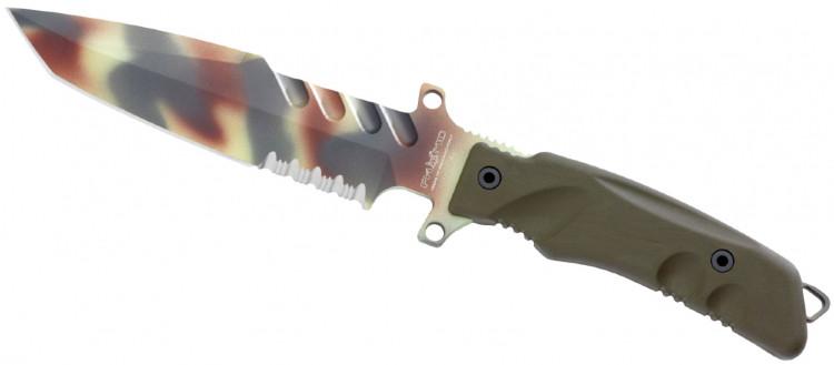 Нож Fox Predator I, цвет: зеленый, длина клинка 18 см. OF/FX-G2DC ROF/FX-G2DC RPredator I (Хищник) - невероятно лёгкий для своих размеров нож. Нож выполнен из стали N690, содержащей кобальт, увеличивающий прочность клинка, и ванадий, повышающий устойчивость режущей кромки. Клинок и хвостовик ножа PREDATOR I – единое целое, монтаж рукояти накладной, а сами накладки на рукоять выполнены из полимера форпрен, устойчивого к перепадам температур от -40°C до +150° C, воздействию солей и кислот. Рукоять порадует вас удобнейшими подпальцевыми выемками, а развитые упоры позаботятся о невозможности соскальзывания руки на клинок. Ножны изготовлены из кордуры и усиленного нейлона, предусмотрено крепление на бедро и ремень. Отдельного внимания достоин дополнительный карман ножен – в него может быть помещён инструмент или пистолетный магазин.Общая длина ножа: 30,5 см.Длина клинка: 18 см.Толщина клинка: 6 мм.