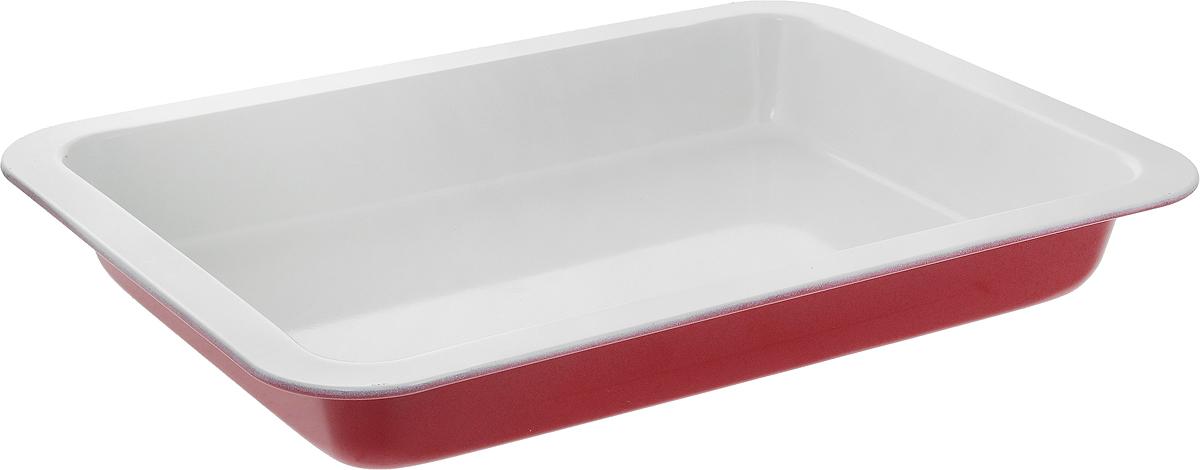 Противень Mayer & Boch Unico, с керамическим покрытием, прямоугольный, цвет: молочный, красный, 38 х 27 см22250_красный/молочныйПротивень Mayer & Boch Unico выполнен из высококачественной углеродистой стали и снабжен антипригарным керамическим покрытием, что обеспечивает прочность и долговечность. Противень равномерно и быстро прогревается, что способствует лучшему пропеканию пищи. Его легко чистить. Готовая выпечка без труда извлекается. Простой в уходе и долговечный в использовании противень Mayer & Boch Unico станет верным помощником в создании ваших кулинарных шедевров. Не рекомендуется мыть в посудомоечной машине. Противень подходит для использования в духовке с максимальной температурой 250°С. Перед каждым использованием противень необходимо смазать небольшим количеством масла. Внешний размер противня: 38 х 27 см. Внутренний размер противня: 33 х 22,5 см. Высота стенки: 5 см.