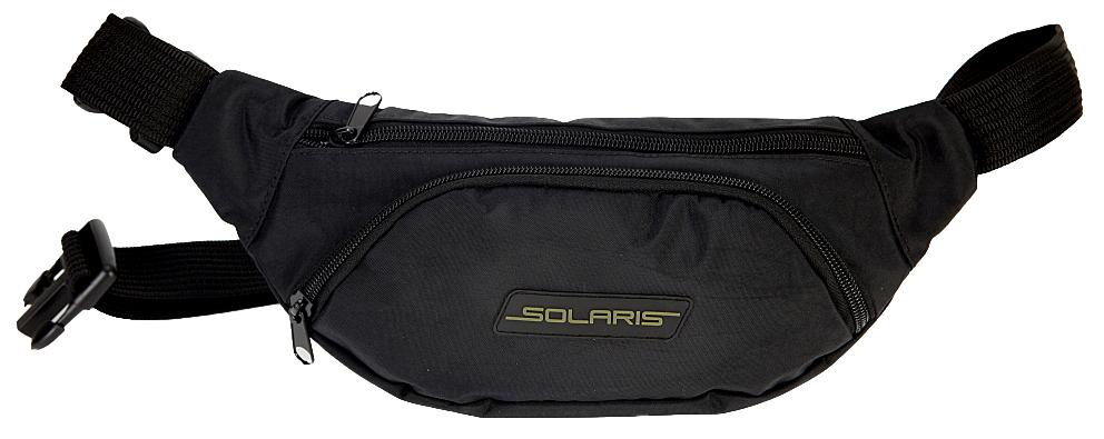 Сумка поясная Solaris, цвет: черный. S5406KSA-10347Классическая поясная сумка Solaris для автомобилистов, туристов и ношения в городе. Может использоваться в качестве дополнительного элемента экипировки вместе с дорожной сумкой или рюкзаком. Сумка имеет 3 отделения: основное отделение с внутренним потайным карманом на молнии и накладной карман спереди. Размеры сумки 340х70х140 мм, регулировка по талии от 85 до 132 см. Большая регулировка поясного ремня по талии позволяет носить сумку и на верхней одежде. Сумка выполнена из высококачественной армированной непромокаемой ткани Stone Washed (жатка), состав полиэстер/ПВХ. Свойства ткани: прочность, износоустойчивость, морозостойкость, не деформируется при использовании. Кроме того, ткань имеет красивую фактуру с отливом. Используется легкая и прочная пластиковая фурнитура (материал - ацеталь).