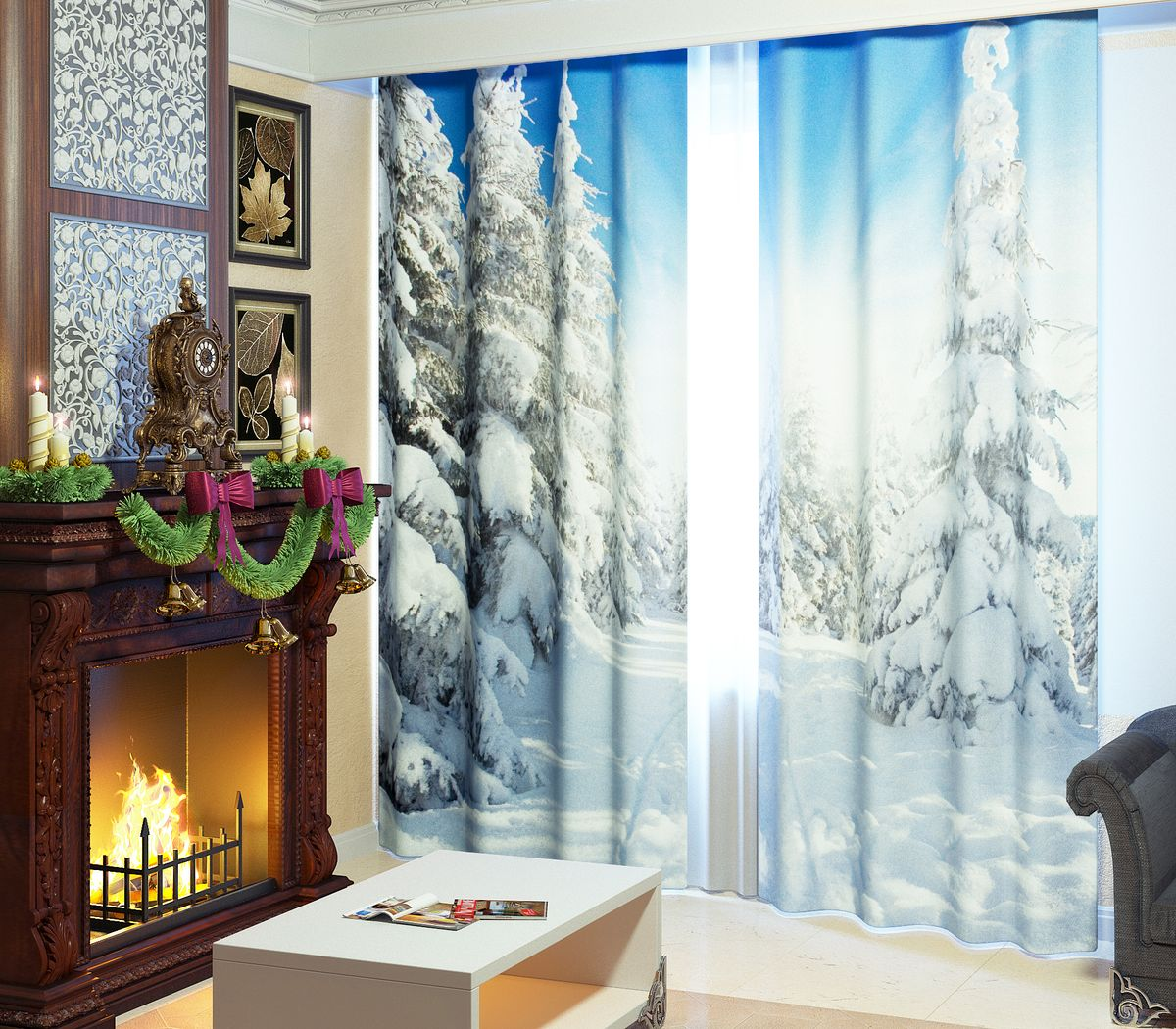 Комплект фотоштор Сирень Зимний лес, на ленте, высота 260 см комплект фотоштор сирень цветок любви на ленте высота 260 см
