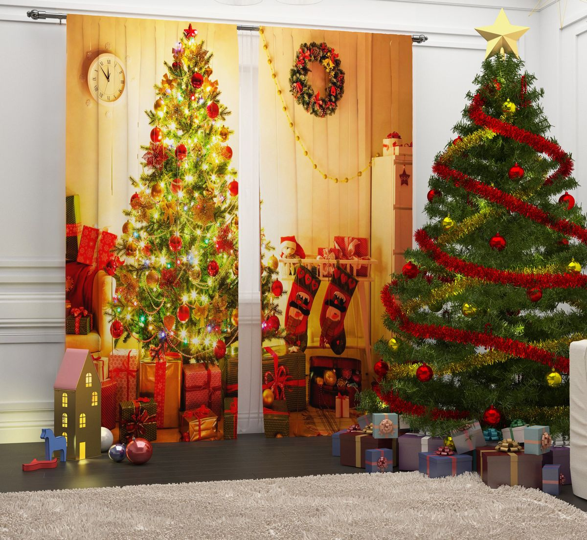 Комплект фотоштор Сирень Новогодняя ночь, на ленте, высота 260 см07107-ФШ-ГБ-001Комплект фотоштор Сирень Новогодняя ночь отлично дополнит интерьер комнаты. Шторы выполнены из габардина (100% полиэстер). Особенностью ткани является небольшая плотность, из-за чего она хорошо пропускает воздух и солнечный свет. Ткань хорошо держит форму, не требует специального ухода. Яркая и четкая картинка, перенесенная на шторы, будет радовать вас каждый день. Идеальное сочетание современного материала и гипоаллергенных красок гарантирует хорошее настроение в доме.