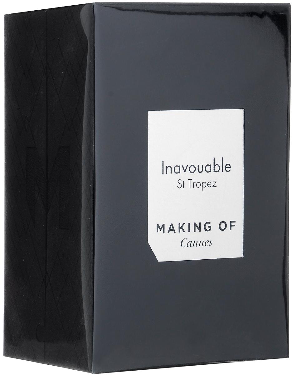 Making Of Cannes Inavouable Парфюмерная вода, 75 млMKGOF-C54-VAPO-N-75-INAVInavouable/НевообразимыйСен-ТропеЭто жаркая летняя ночь, одна из тех, когда Вы можете воплотить свои самые заветные фантазии. Верхние ноты: итальянский лимон, бергамот, сицилийский красный мандарин Ноты сердца: экстракт магнолии, абсолю жасмина Базовые ноты: цветок тиаре, амбра, белый мускус.