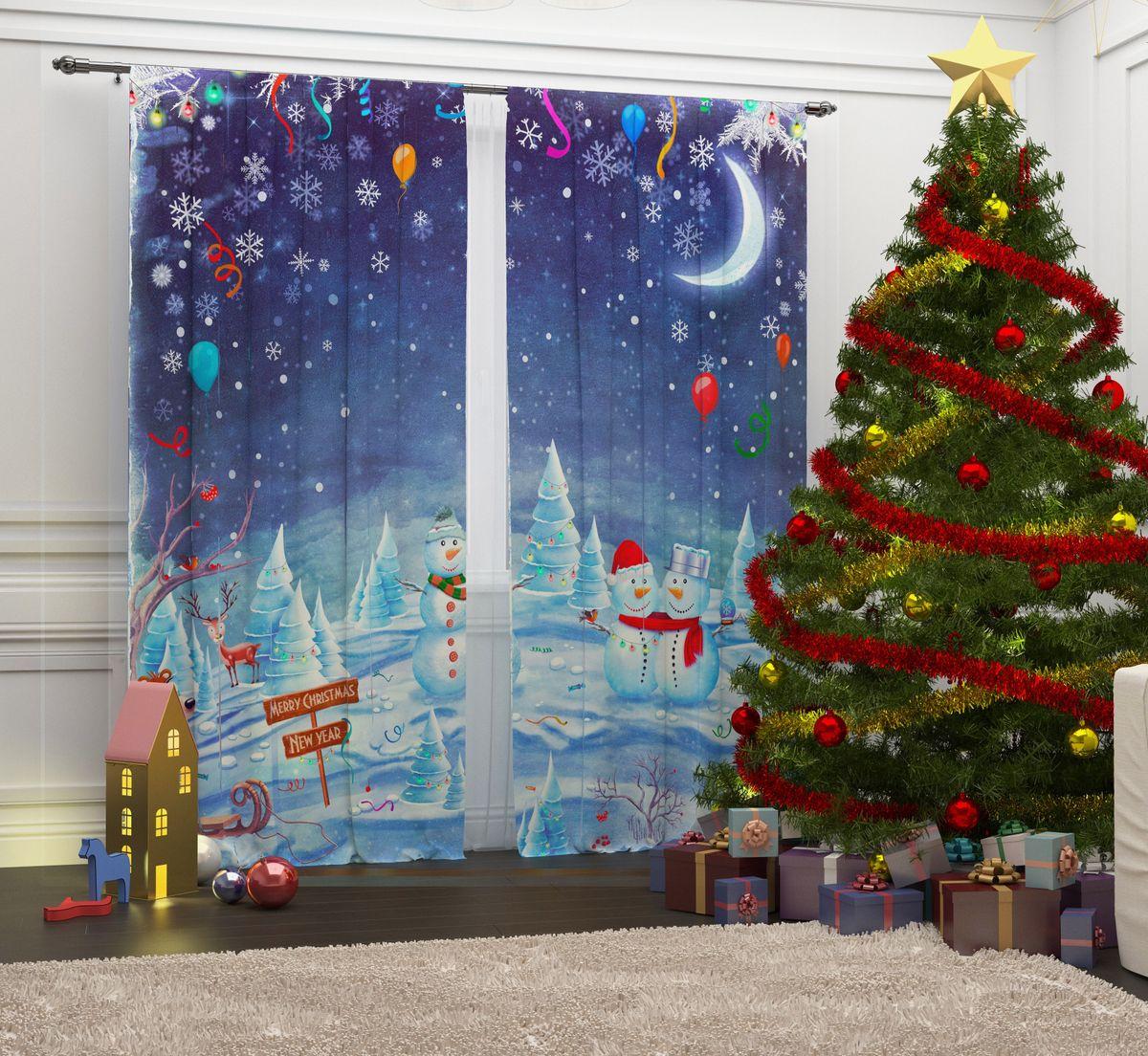 Комплект фотоштор Сирень Встреча Рождества, на ленте, высота 260 см07291-ФШ-ГБ-001Комплект фотоштор Сирень  Встреча Рождества отлично дополнит интерьер комнаты. Шторы выполнены из габардина (100% полиэстер). Особенностью ткани является небольшая плотность, из-за чего она хорошо пропускает воздух и солнечный свет. Ткань хорошо держит форму, не требует специального ухода. Яркая и четкая картинка, перенесенная на шторы, будет радовать вас каждый день. Идеальное сочетание современного материала и гипоаллергенных красок гарантирует хорошее настроение в доме.