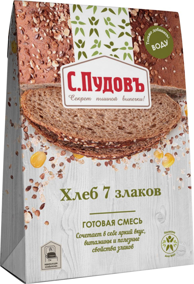 Пудовъ хлеб 7 злаков, 500 г