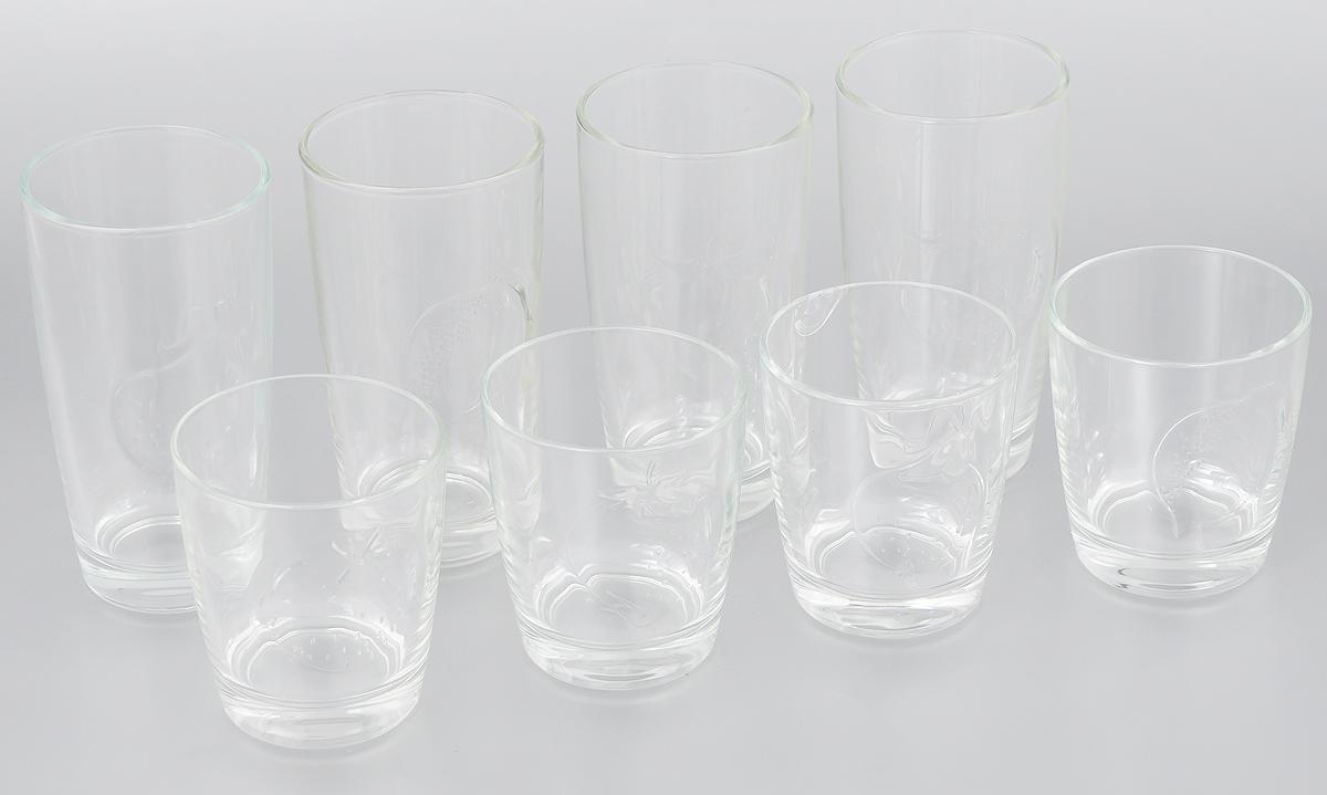Набор cтаканов Luminarc Фрути энерджи, 8 штVT-1520(SR)Набор Luminarc Фрути энерджи состоит из шести стаканов двух видов, выполненных из прочного натрий-кальций-силикатного стекла. Изделия прекрасно подходят для воды, сока, молока, лимонада и других напитков..Набор Luminarc Фрути энерджи идеален для ежедневного использования. Функциональность, практичность и стильный дизайн сделают набор прекрасным дополнением к вашей коллекции посуды. Диаметр стакана (по верхнему краю): 7,2 см; 7,7 см.Высота стакана: 13,5 см; 9 см.Объем стакана: 30 мл; 25 мл.
