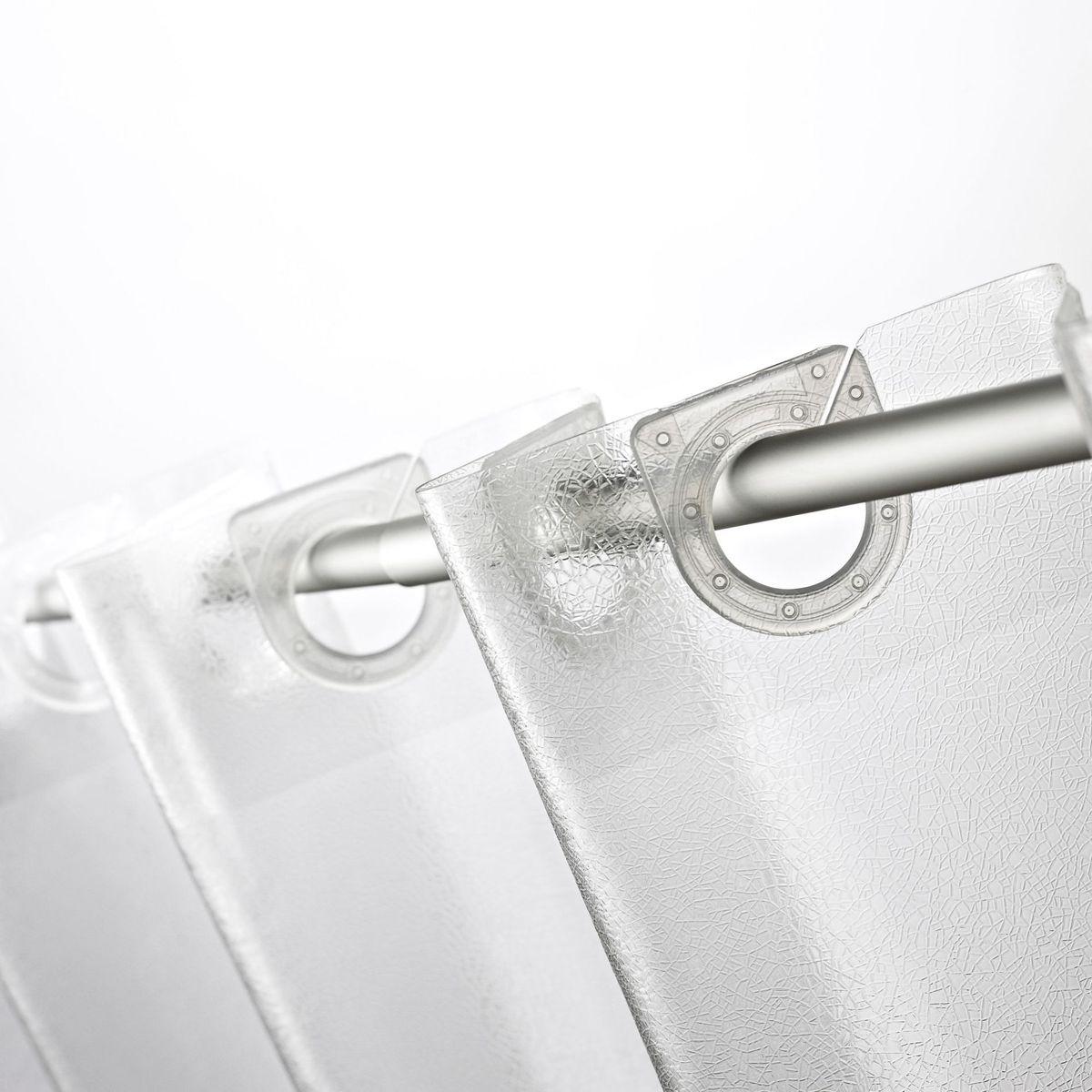 Штора для ванной комнаты Ridder Crashed Ice, 180 х 200 см6.295-875.0Высококачественная немецкая штора для душа создает прекрасное настроение.Продукты из эколена не имеют запаха и считаются экологически чистыми.Ручная стирка. Не гладить.