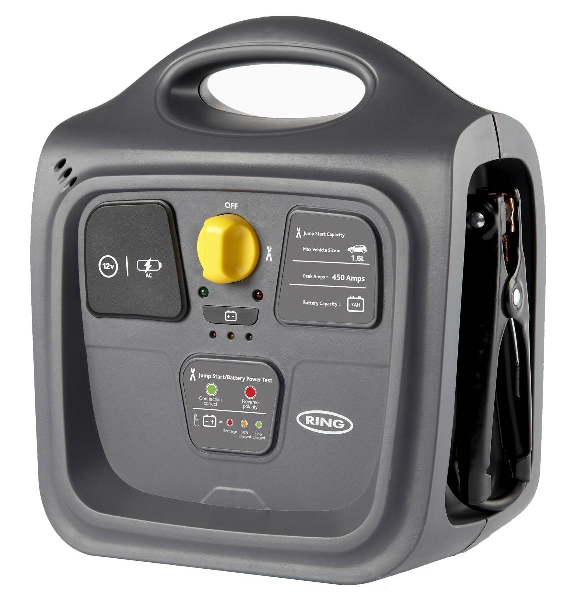 Пусковое многофункциональное устройство и источник питания Ring 7AH POWERPACKEP-LN920BBEGRUПортативное многофункциональное устройство для экстренного запуска автомобиля и другого транспортного средства, зарядки электронных устройств, освещения местности за счет встроенного источника питания 12В. Рекомендуется для запуска двигателя объемом до 1,6 л. Пиковый пусковой ток 450А. Емкость встроенной свинцово-кислотной АКБ 7Ач (12В). Устройство имеет розетку 12В для подключения автоаксессуаров (разъем типа прикуриватель). Зажимы типа крокодил убираются внутрь прибора. Встроенный индикатор зарядки. Компактный дизайн, английский подход и безупречное качество делают этот прибор незаменимым помощником холодной зимой и жарким летом.