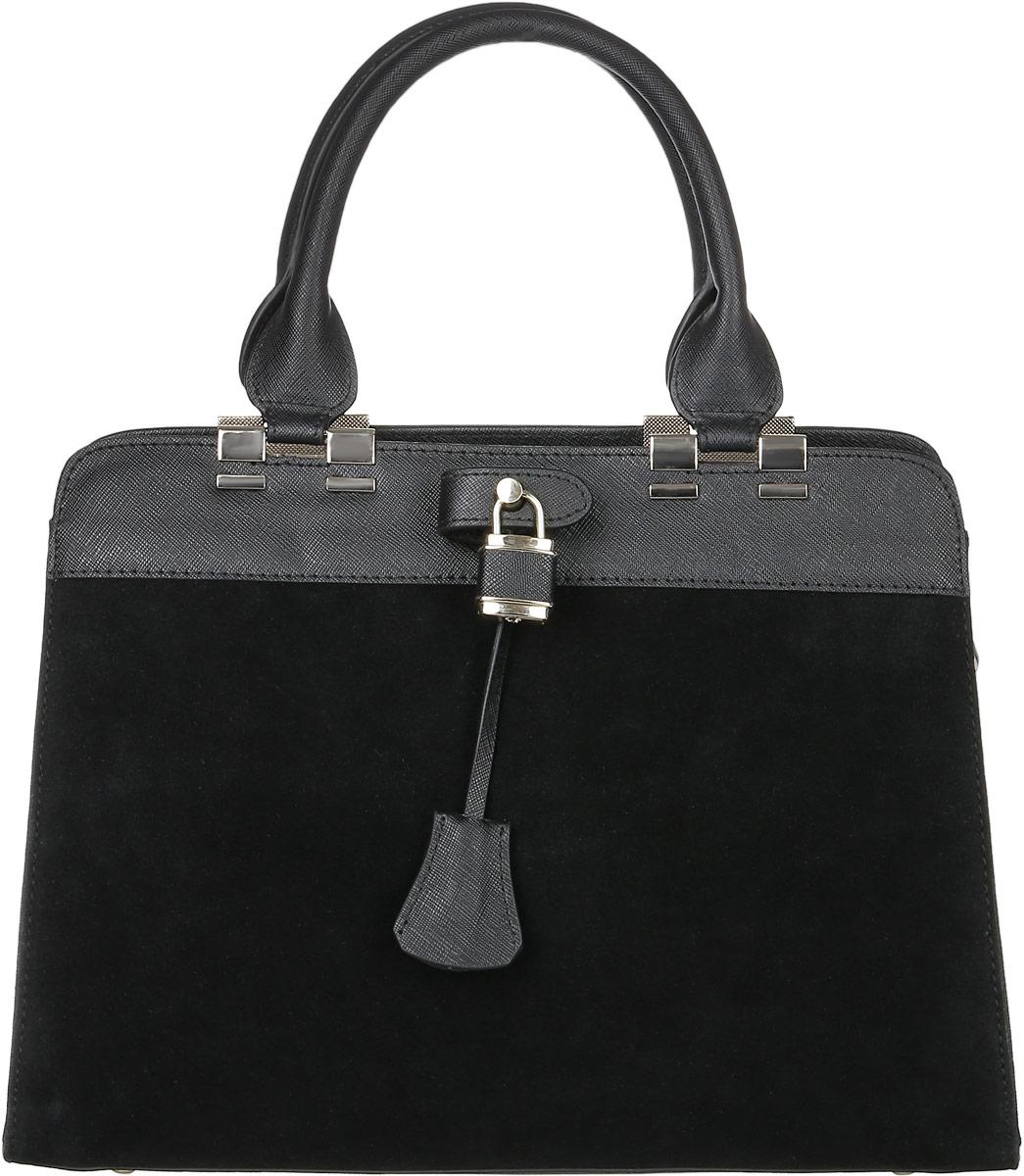 Сумка женская Vita Pelle, цвет: черный. 3055-5EQW-M710DB-1A1Стильная женская сумка Vita Pelle изготовлена из натуральной кожи. Лицевая часть модели выполнена из натуральной замши. Изделие имеет одно вместительное отделение. Внутри расположены два накладных открытых кармана, прорезной карман на застежке-молнии и карман на молнии по середине. Закрывается изделие на застежку-молнию. На задней стенке снаружи карман на молнии. Сумка оснащена наплечным ремнем регулируемым по длине. Изделие украшено металлическим замочком и ключиком к нему. Дно модели дополнено металлическими ножками.