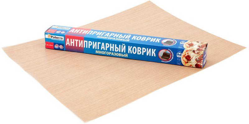 Коврик для выпечки Paterra, антипригарный, 33 х 40 см402-456Антипригарный коврик для выпечки Paterra выполнен из политетрафторэтилена. Он предназначен для выпекания продуктов на противне в духовых шкафах без дополнительного смазывания маслом или жиром. Коврик удобен для раскатки теста. Не впитывает запахи.